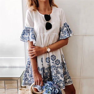Women's Round Neck Flared Sleeve Print Dress