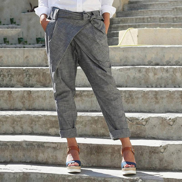 Women's Casual Pure Color Belted Straight Pants
