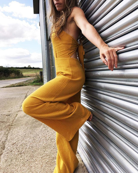 Casual Round Neck Open Back Knotted Sleeveless Pure Colour Jumpsuit