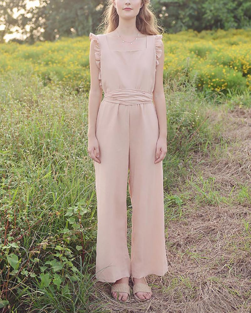 Pure-Color Bare Back Sleeveless Wide Leg Jumpsuit