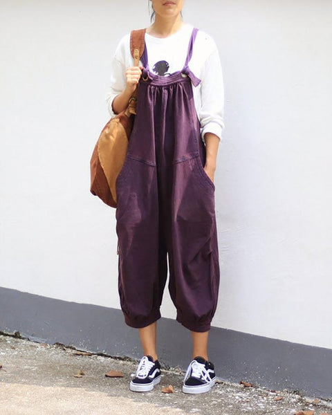 Pure Color Sling Loose Jumpsuit