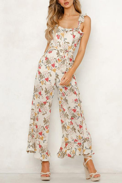 Sexy Halter Sling Print Jumpsuit