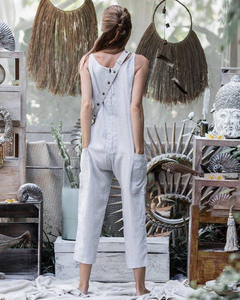 Sexy V-Neck Sleeveless Pure Colour Jumpsuit