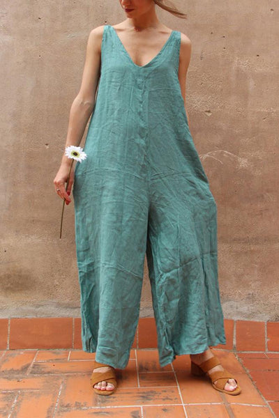 Pure Color V Collar Open Shoulder Wide Leg Jumpsuit
