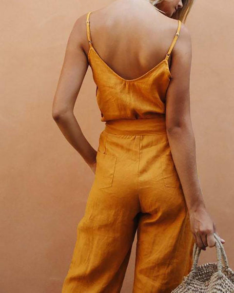 Sexy Sleeveless Sling V-Neck Pure Colour Jumpsuit