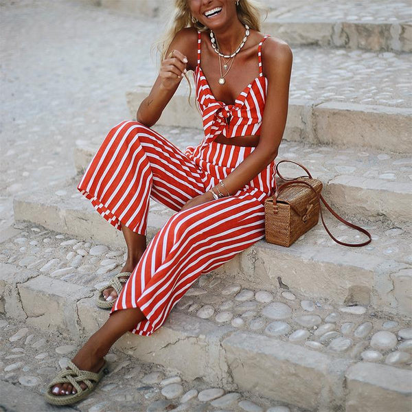 Sexy Striped Bowknot Belted Sling Jumpsuit