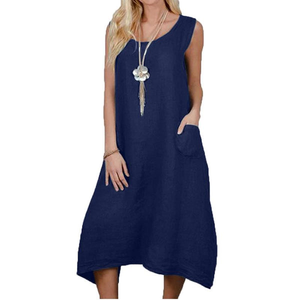 Casual Round Neck Sleeveless Pure Colour Dress
