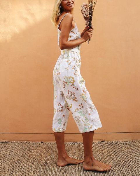 Sexy Open-Shoulder Sling Print Wide Leg Jumpsuit