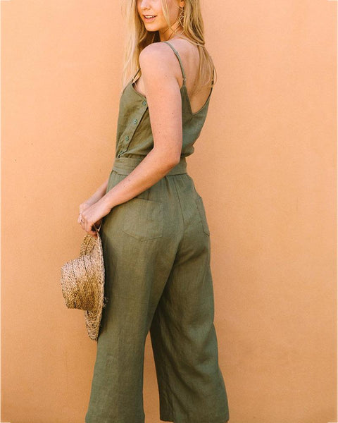 Fashion V Neck Plain Lace-Up Halter Jumpsuits