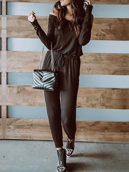Casual Pure Color Off-Shoulder Long Sleeve Darcon Jumpsuit
