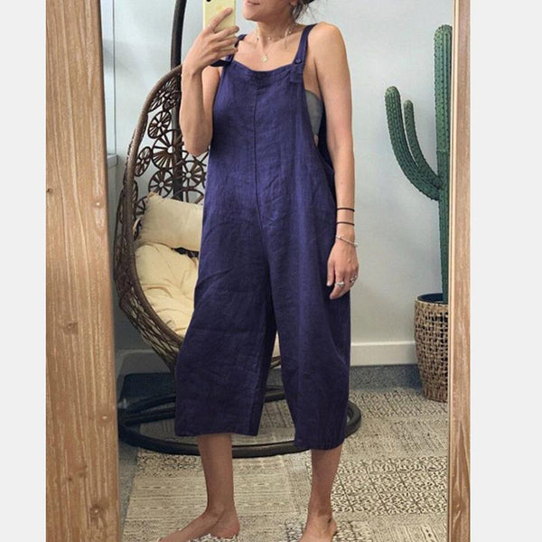 Casual Overall Sleeveless Pure Colour Jumpsuit