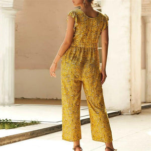 Maternity V-Neck Ruffled Short-Sleeved Printed Jumpsuit