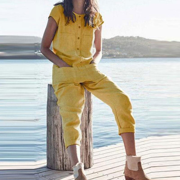 Casual Round Neck Pocket Solid Color Jumpsuit