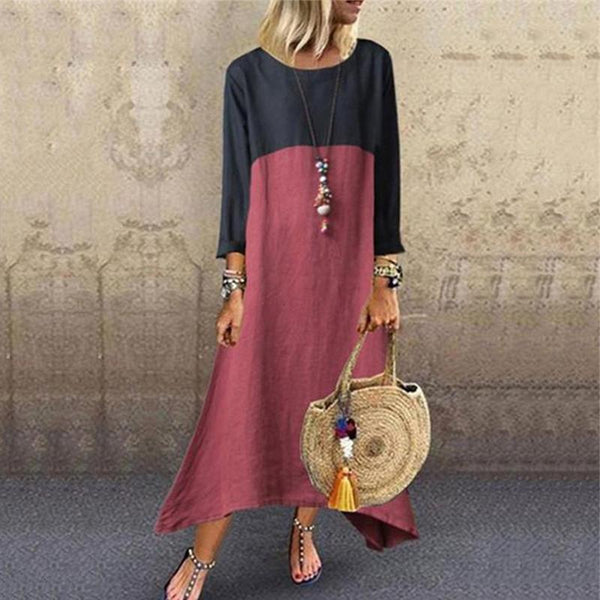 Casual Round Neck Contrast Stitching Long Sleeve Dresses