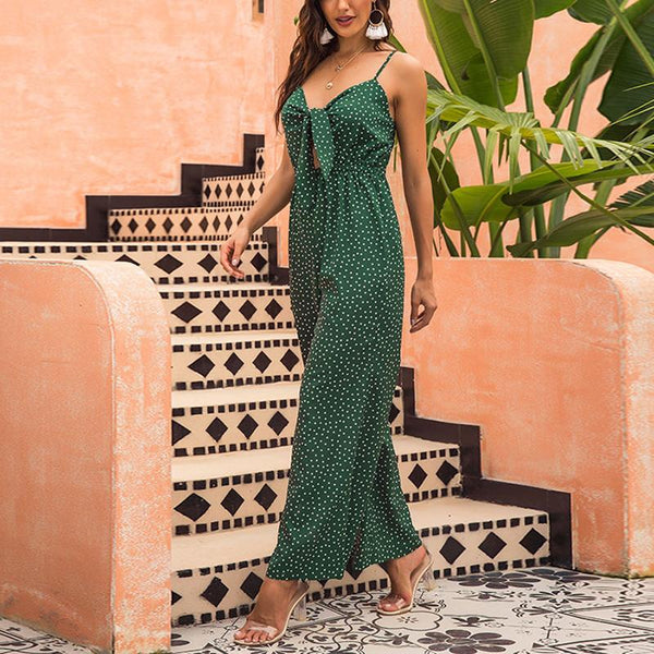 Casual Chest Knotted Sling Printed Polka Dot Loose Jumpsuit