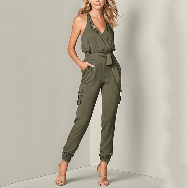 Casual V-Neck Solid Color Lace Slim Jumpsuit