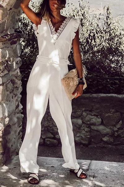 Women's Fashion Pure Color V Neck Lace Ruffled Jumpsuit