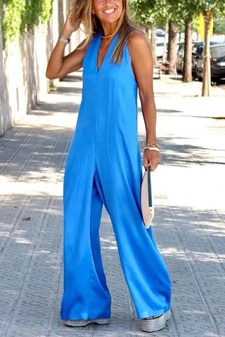 Women's Fashion Pure Color Sleeveless V Neck Loose Jumpsuit