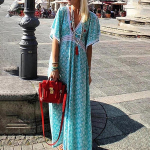 Bohemian V Neck Printed Colour Halflong Sleeve Dress