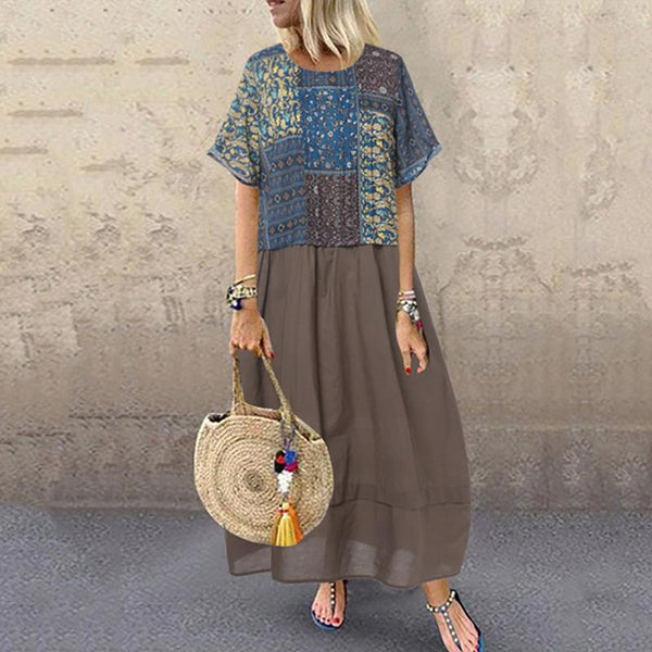 Casual Garden Round Neck Short Sleeve Printed Long Dress
