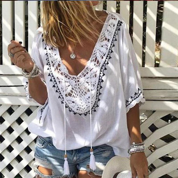 Casual Ethnic Style V-Neck Sleeve Printed Top