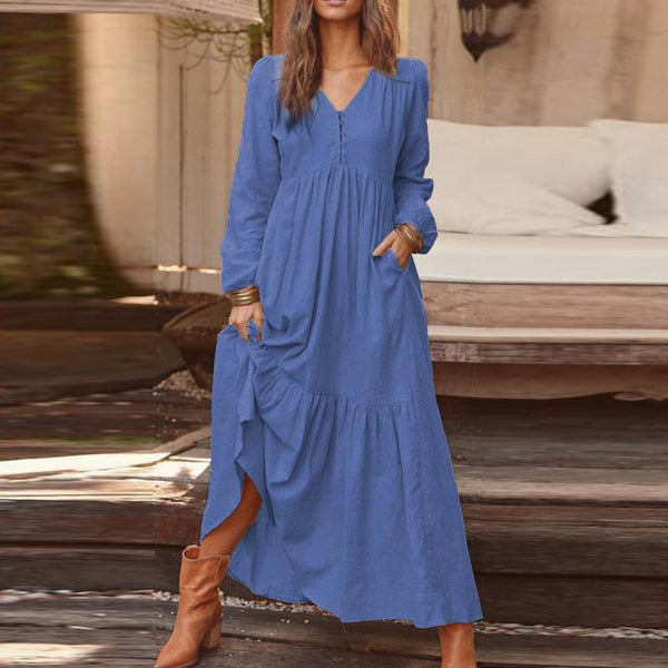 Casual Button Cotton And Linen Long Sleeve Dress