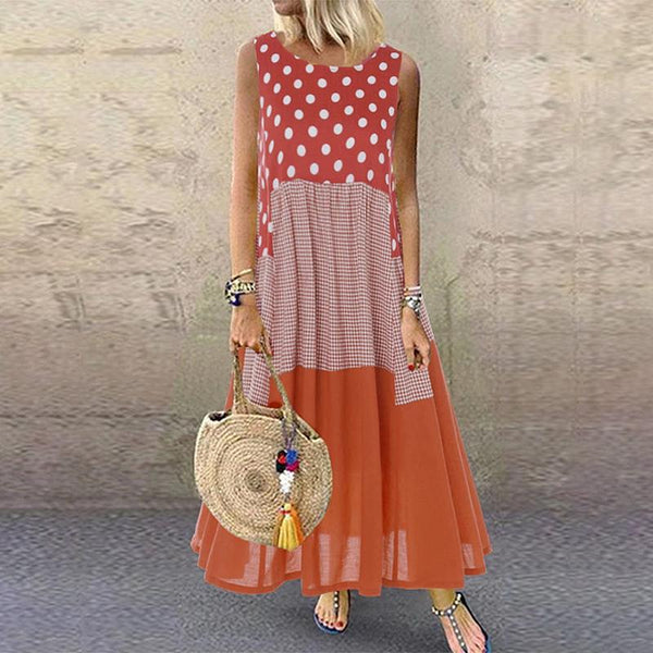 Casual Polka Dot Plaid Runched Sleeveless Round Neck Dress