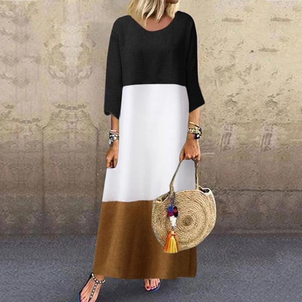 Casual Flax Splicing Round Neck Bracelet Sleeve Dress