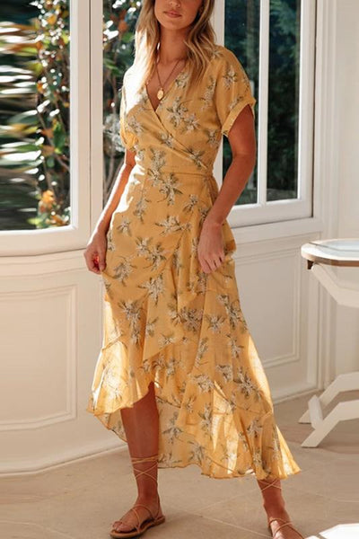 V Neck Short Sleeve Belted Printed Colour Irregular Ruffled Dress