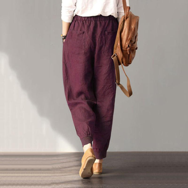 Pure Color Elastic Waist Casual Pants