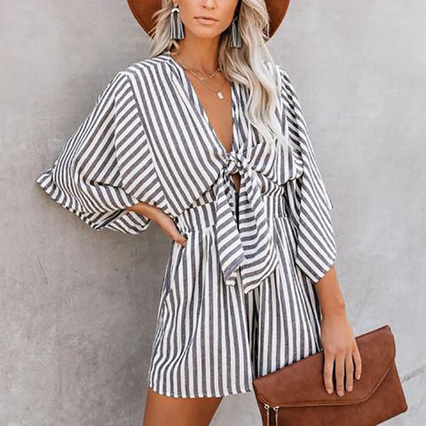 Casual V-Neck Striped Short-Sleeved High-Rise Loose Jumpsuit