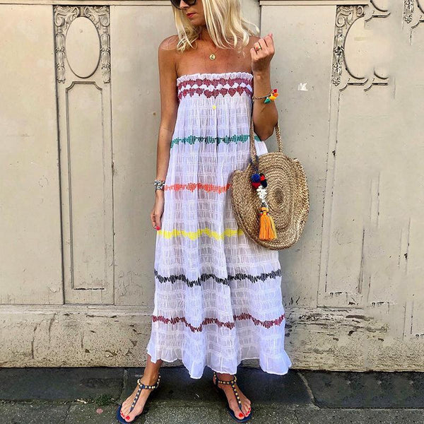 Women's Bohemian Printed Color Boat Neck Loose Dress