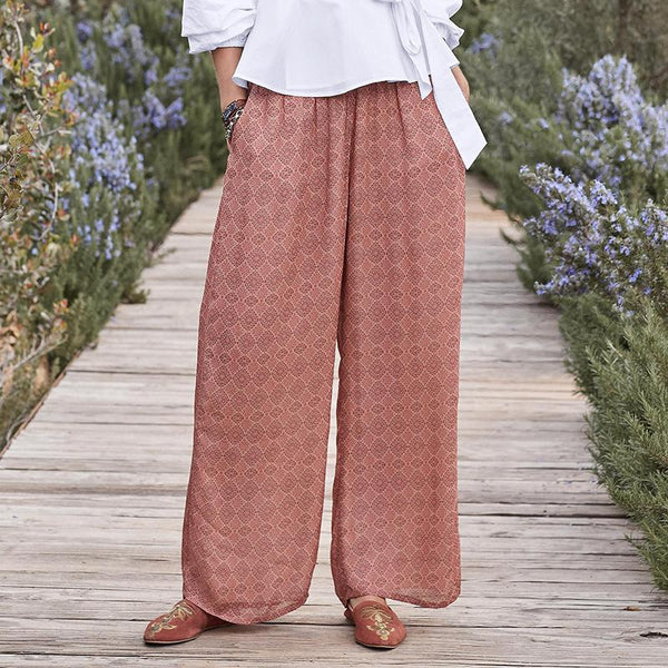 Vacation Vintage Elastic Loose Casual Pants