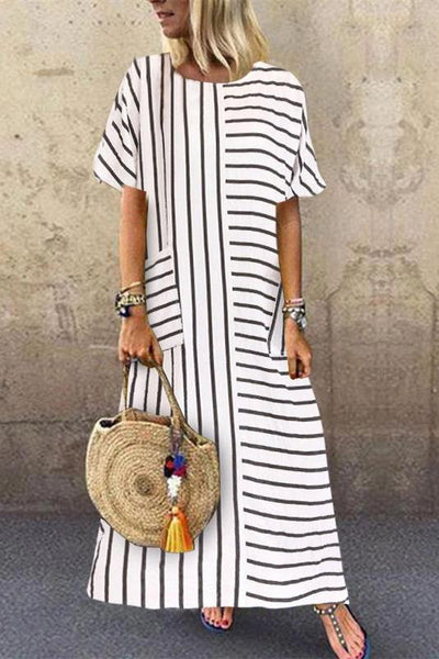 Round Neck Halflong Sleeve Ankle-Length Stripe Loose Dress