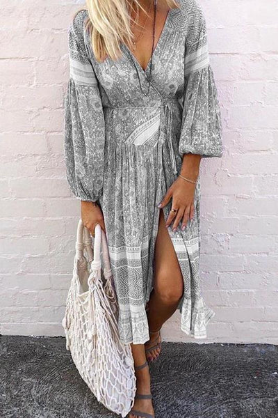 Bohemian Deep V Neck High Slit Bubble Sleeve Dress