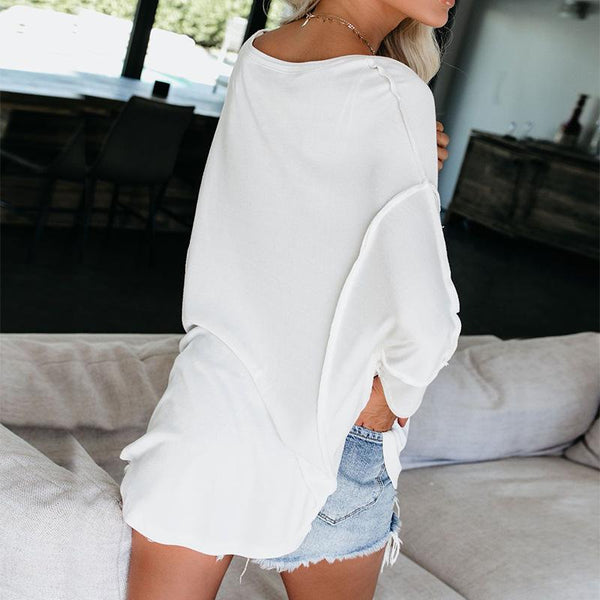 Women's Casual V Neck Pure Color Shoulder Sleeve Loose T-Shirt