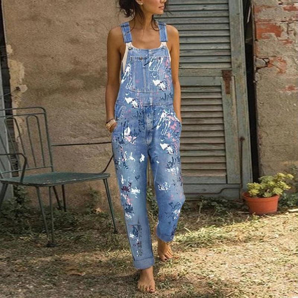 Daily Button Pockets Loose Jumpsuit Jeans