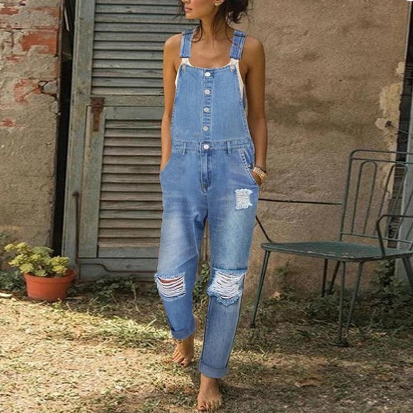 Casual Daily Pure Colour Broken Hole Jumpsuit Jeans