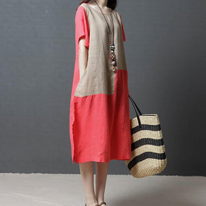 Brief Round Neck Short Sleeve Contrast Color Splicing Dress