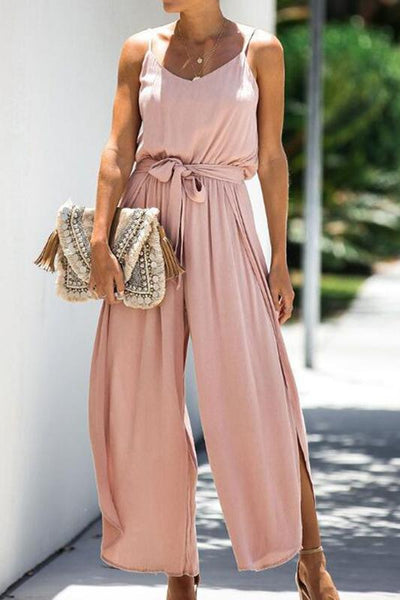 Casual Sling Sleeveless Pure Colour Belted Jumpsuit