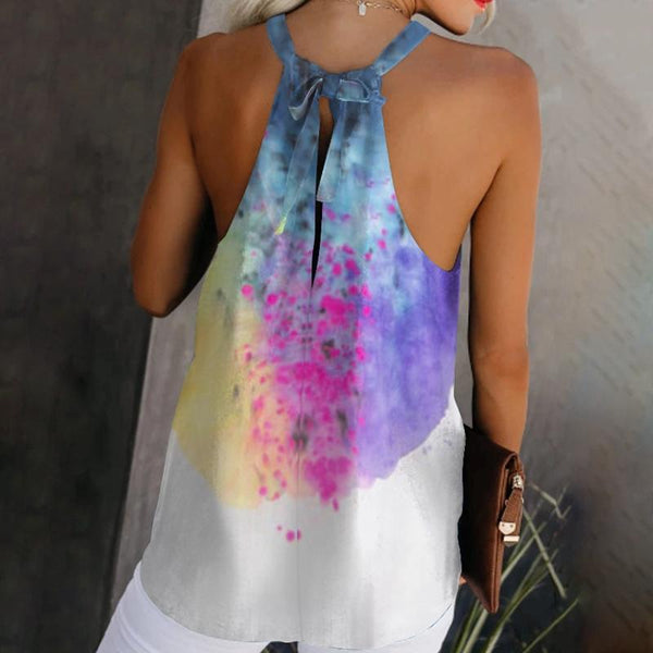 Hanging Collar Printed Colour Broken Hole Off-Shoulder Loose Tank Top