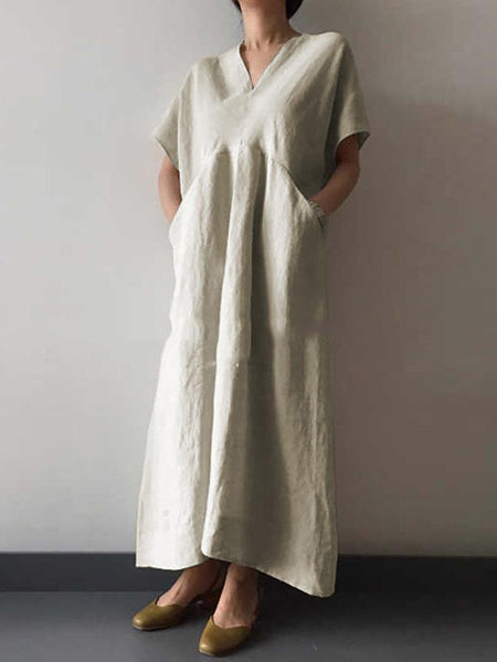 Cotton And Linen V-Neck Casual Irregular Dress