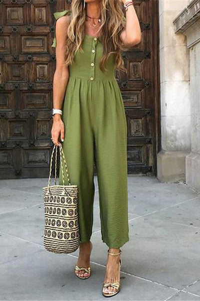 Casual Spaghetti Strap Pure Color Jumpsuit
