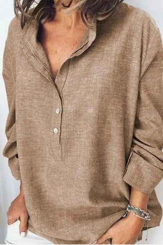 Solid Color Loose Long Sleeve Casual Shirt Top