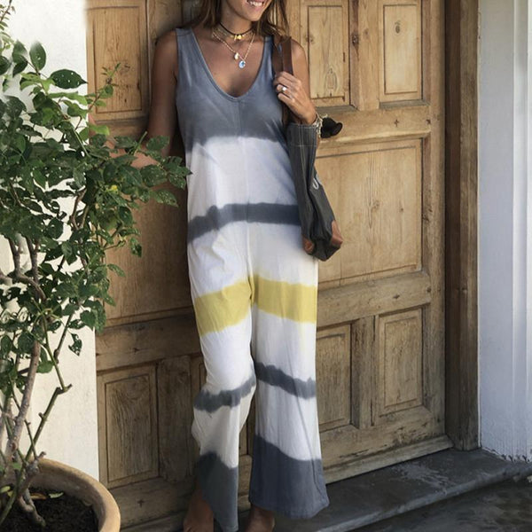 Casual V-Neck Sleeveless Contrast Stripes Stitching Jumpsuits