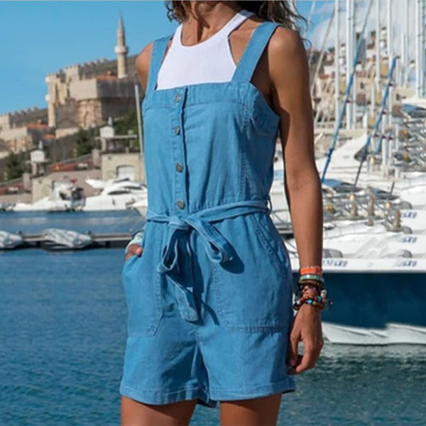 Women Casual Denim Pocket Overall Plain Romper