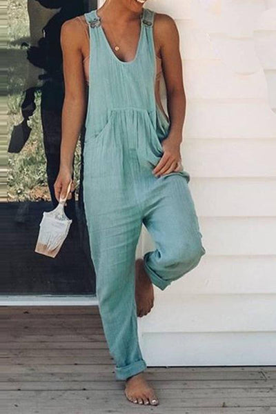 Women's Casual Pure Color Sleeveless Overall Jumpsuit