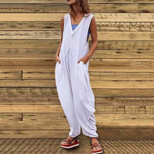 Casual Sleeveless Deep V Neck Pure Colour Jumpsuit