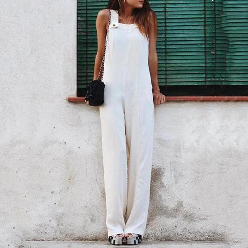 Brief Sleeveless Square-Cut Collar With Buttons Ankle-Length Jumpsuit