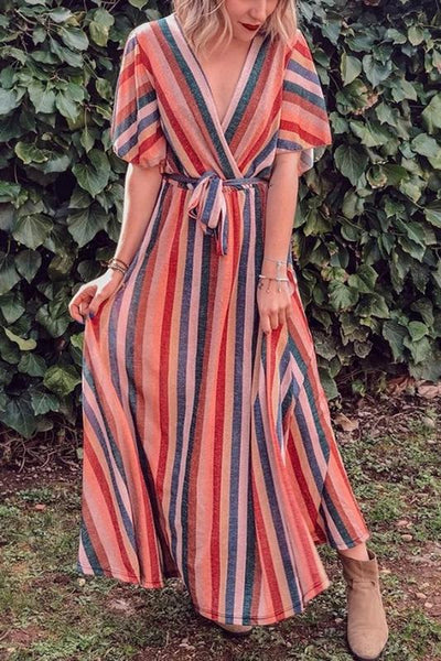 Sweet Striped Deep V Neck Halflonh Sleeve Long Dress